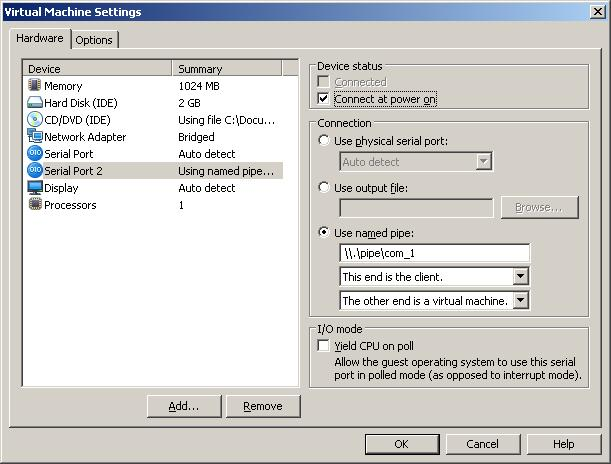 VMWare setting of Linux VM - Serial Port 2 (screenshot)