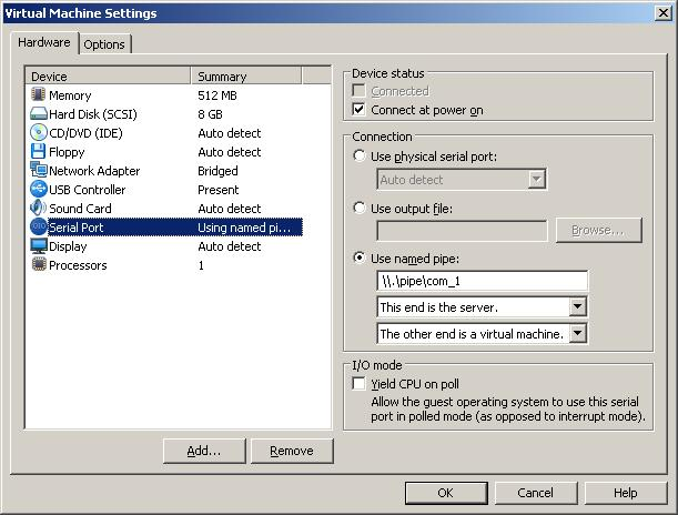 VMWare setting of WindowsXP VM - Serial Port (screenshot)