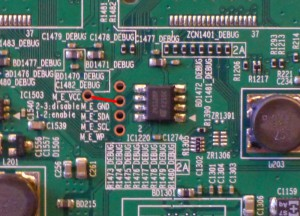 Shortcut pins to Clear EEPROM on Samsung ES7000/ES8000 TV